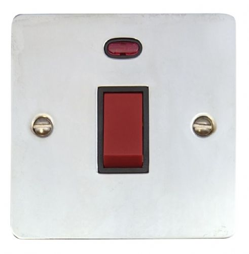 G&H FC46B Flat Plate Polished Chrome 45 Amp DP Cooker Switch & Neon Single Plate